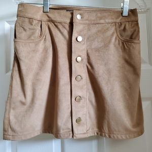 Camel suede button skirt